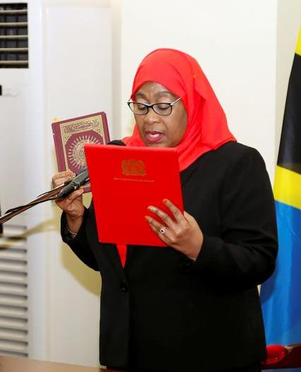 Commonwealth Watches As Tanzania Swears In Its First Female President.